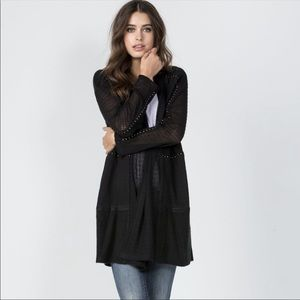 Miss Me HTF On Point Studded Open Front Cardigan
